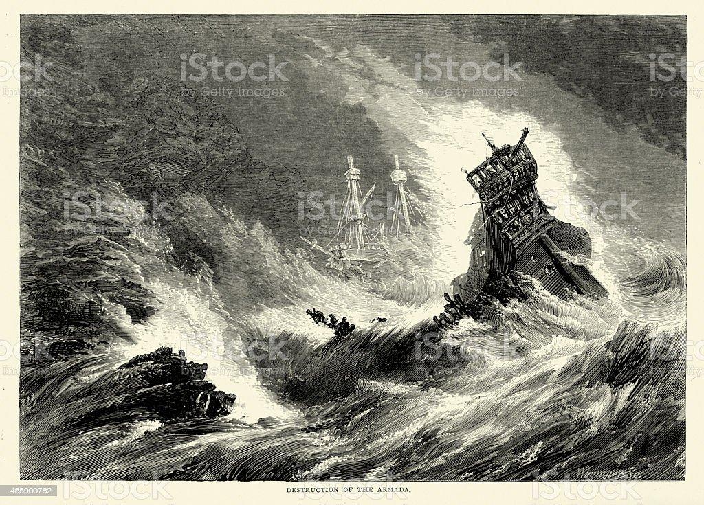Destruction of the Spanish Armada in a Storm vector art illustration