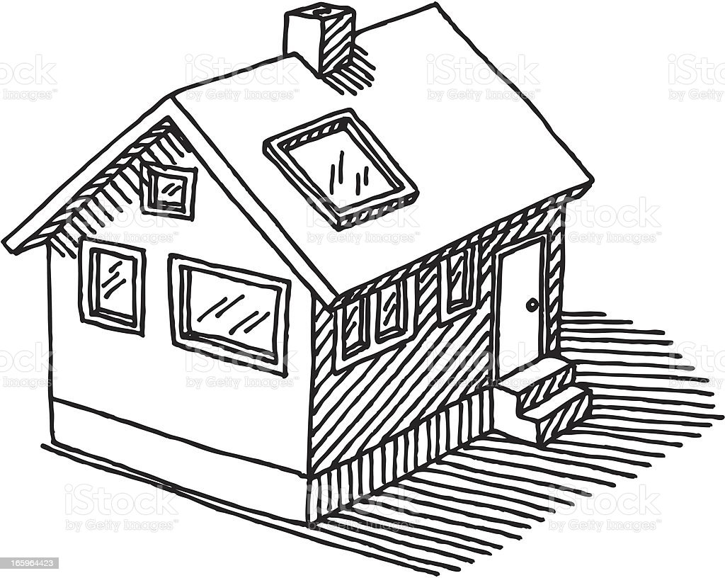 Detached House Drawing vector art illustration