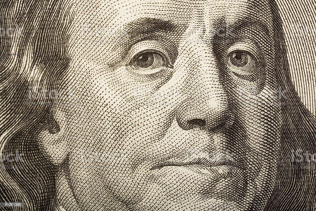 Detail of 100 Dollar bill vector art illustration