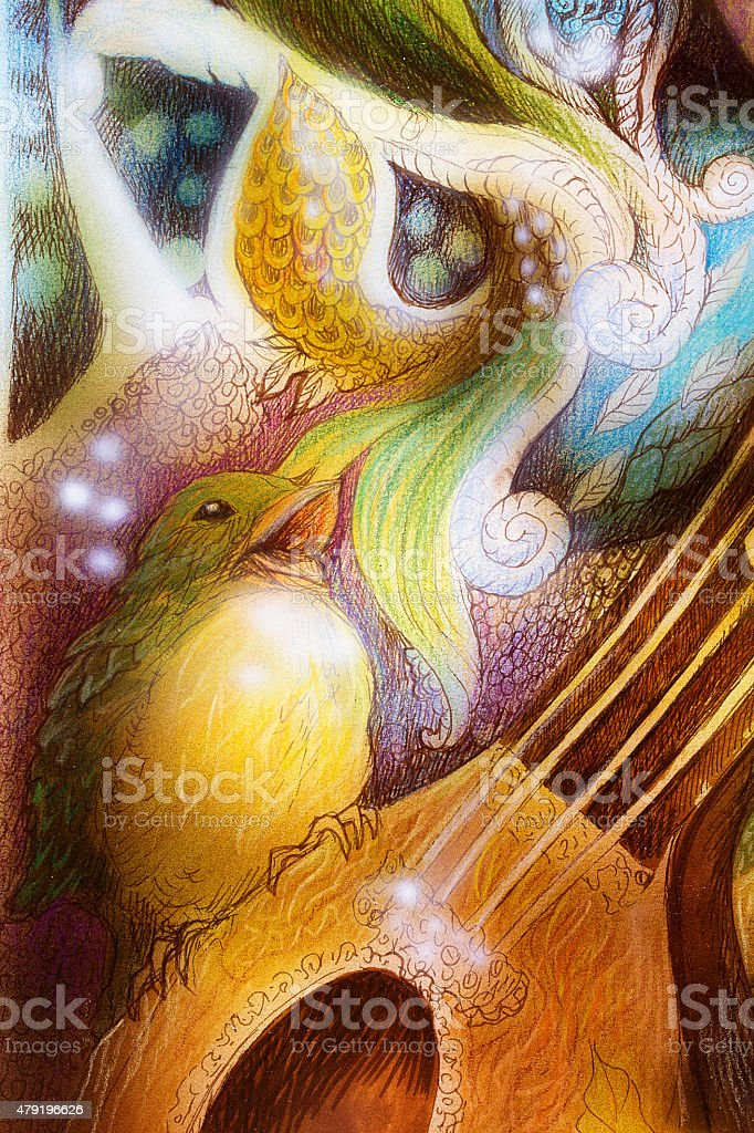 Detail of bird singing song with colorful ornaments vector art illustration