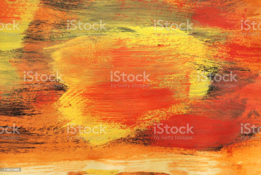 Detail of painting with red and yellow paints royalty-free stock vector art