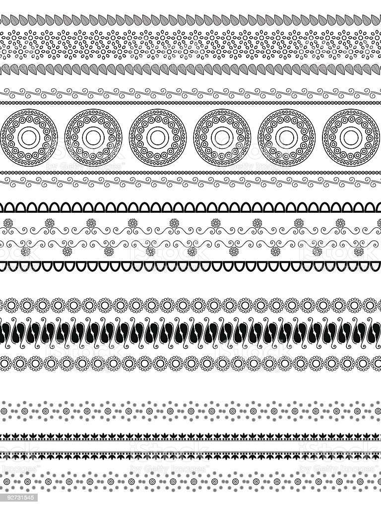 Detailed henna borders royalty-free stock vector art