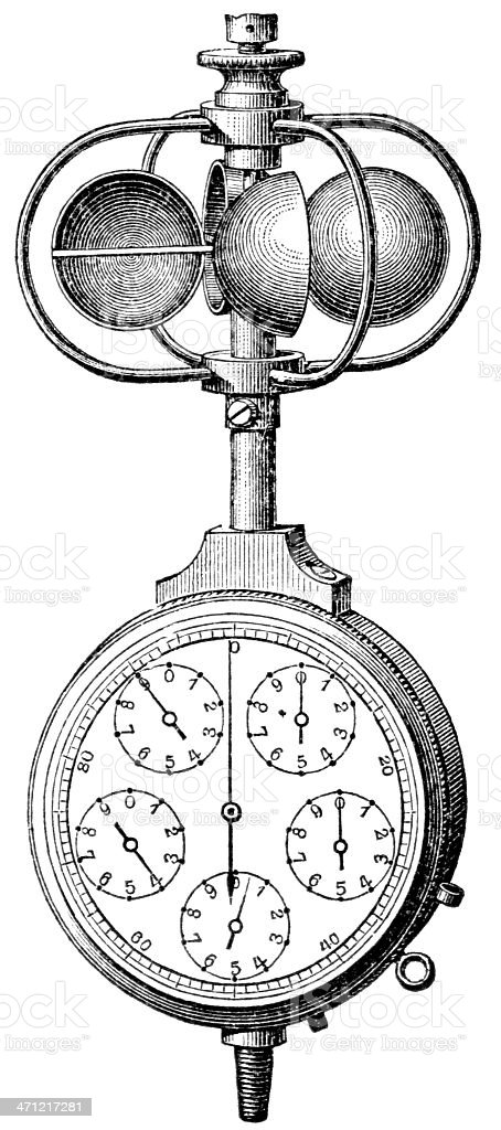 A detailed ink illustration of an anemometer royalty-free stock vector art