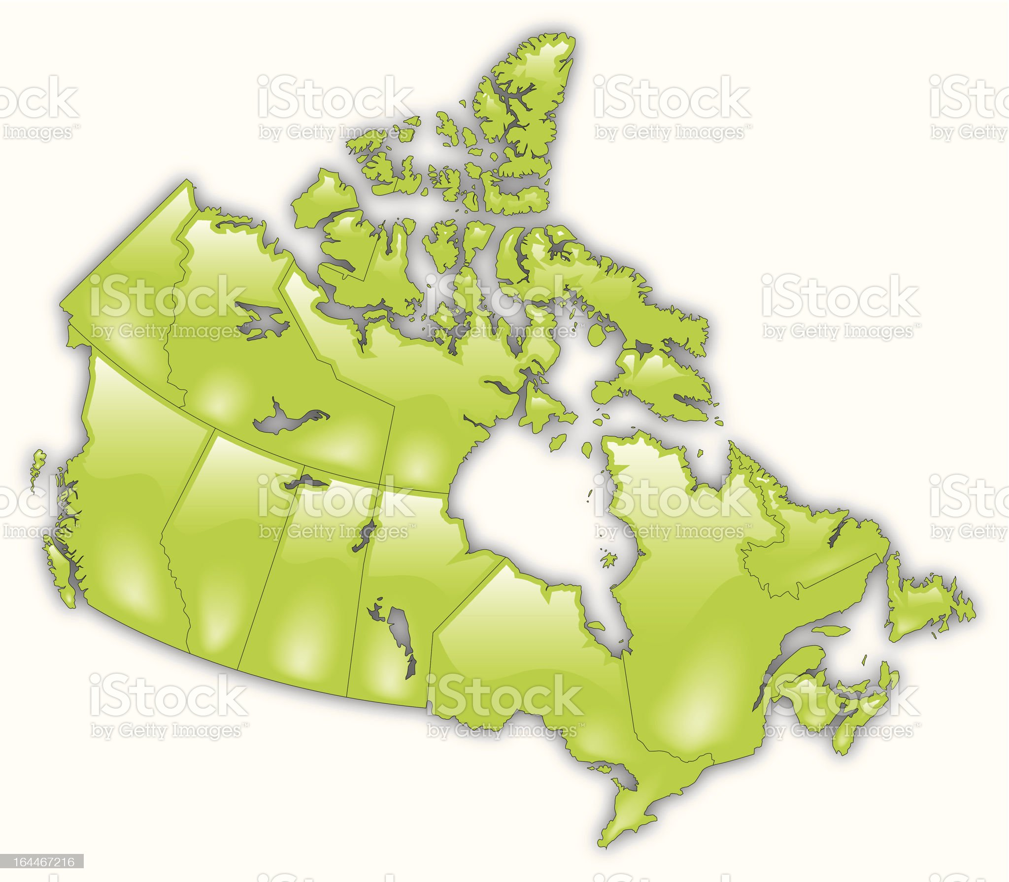 Detailed Map of Canada royalty-free stock vector art