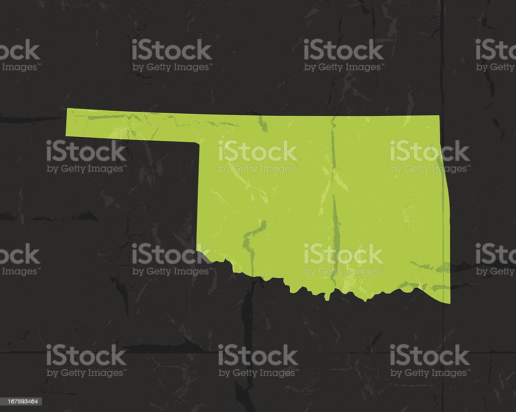 Detailed map of Oklahoma state grunge style royalty-free stock vector art