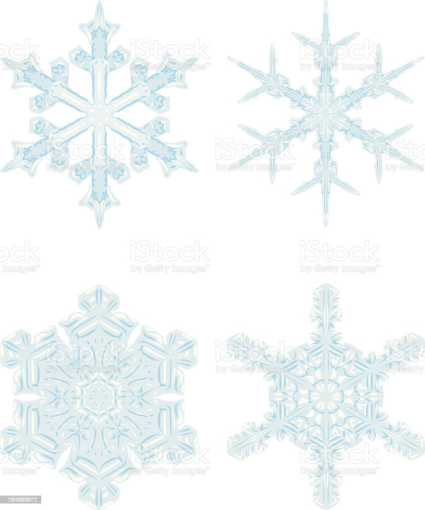 Detailed Snowflakes royalty-free stock vector art