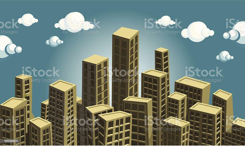 detailed vector city vector art illustration