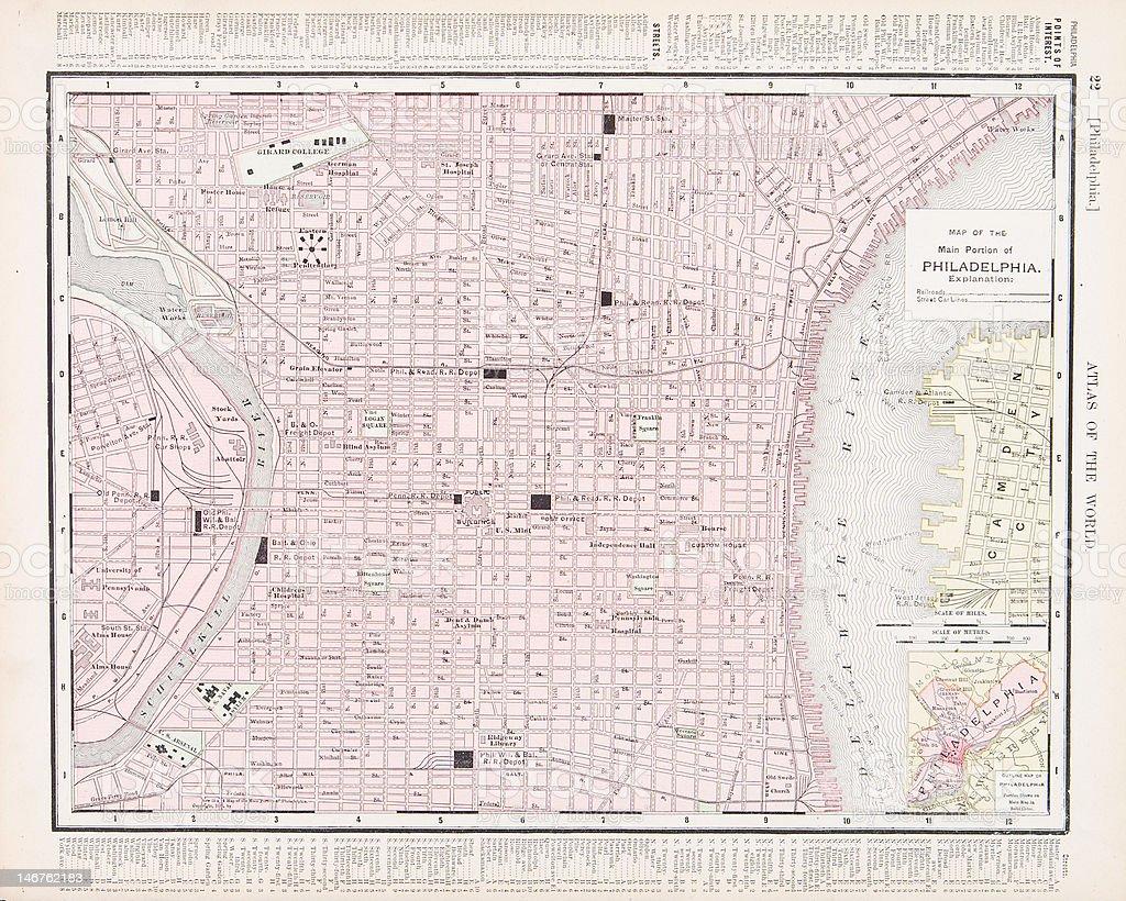 Detailed Vintage Color City Street Map of Philadelphia, Pennsylvania, USA vector art illustration