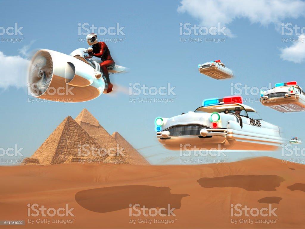 Detective Adventure of The Future vector art illustration