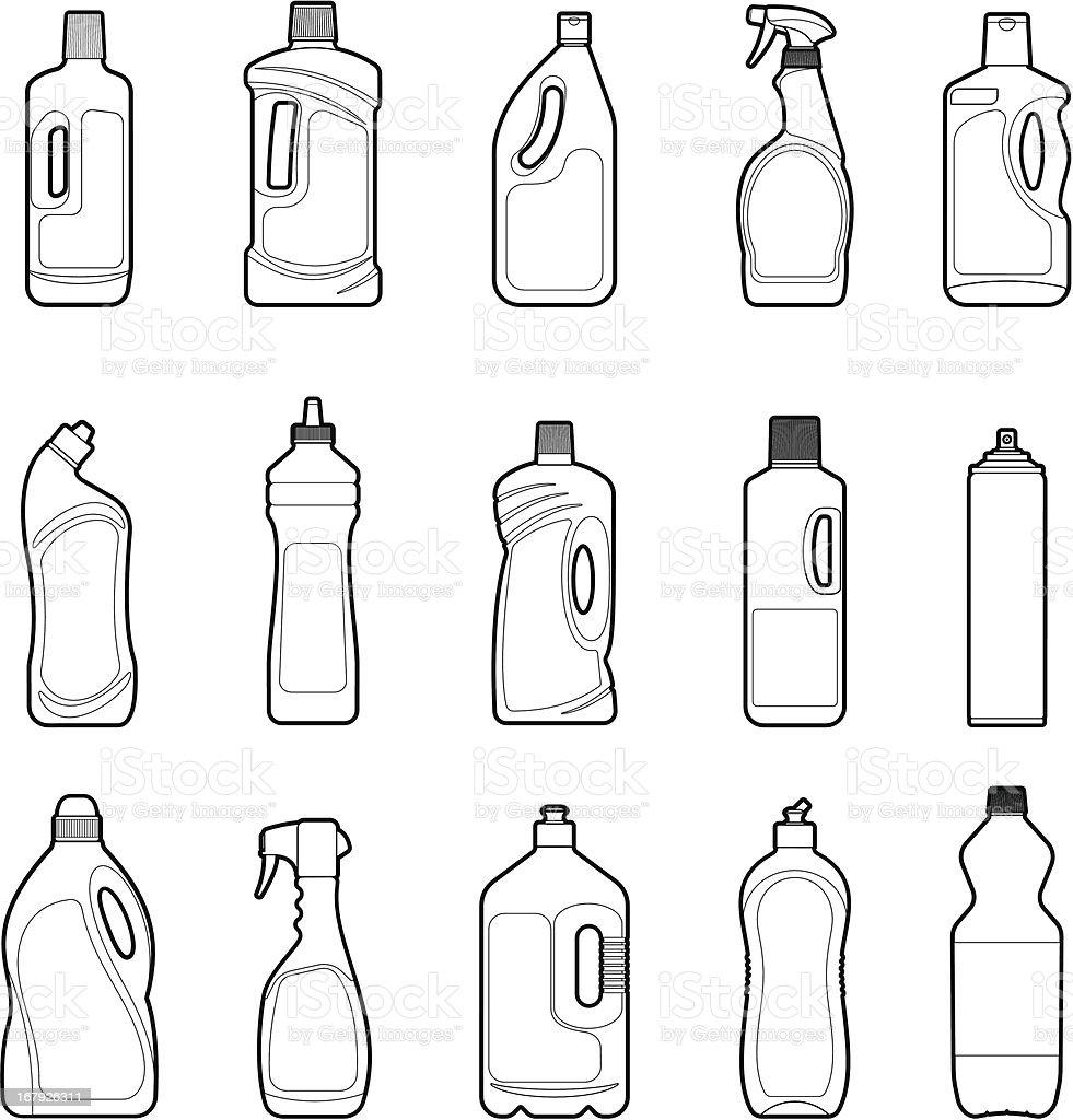 Detergent Bottles set vector art illustration