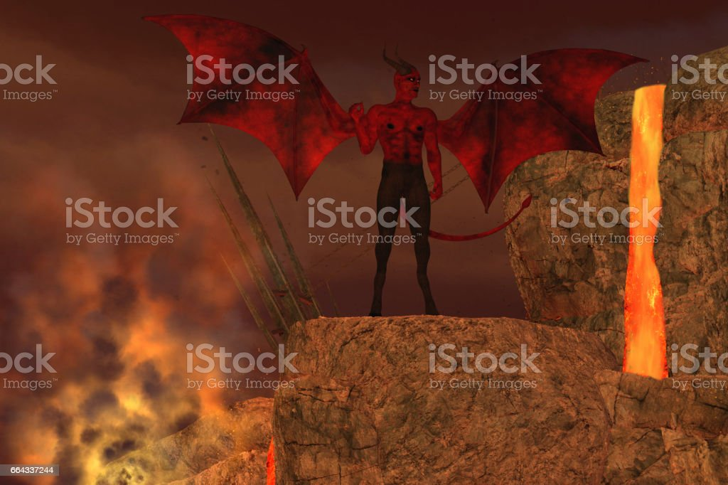 Devil Creature in Hell stock photo