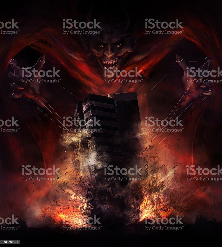 Devil destruction vector art illustration