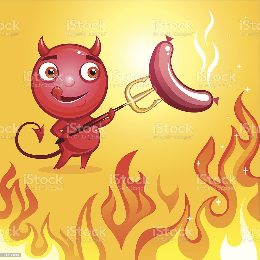 devil fire barbeque royalty-free stock vector art