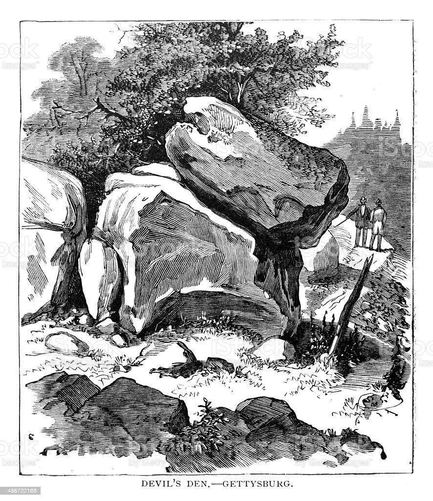 Devil's Den Gettysburg vector art illustration