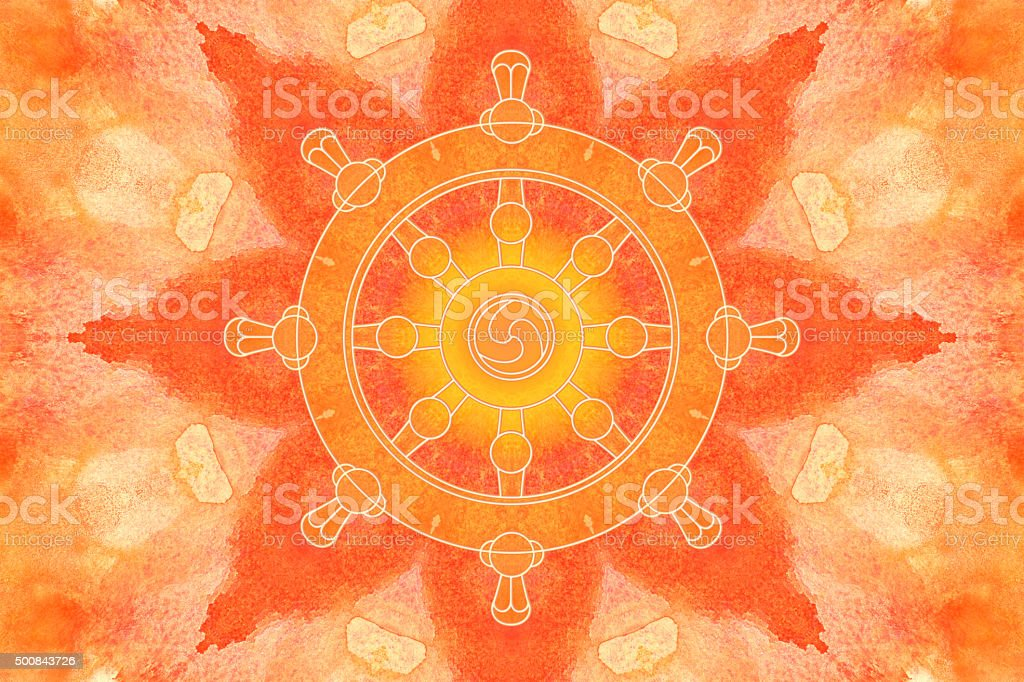Dharma wheel symbol on a painted kaleidoscope vector art illustration