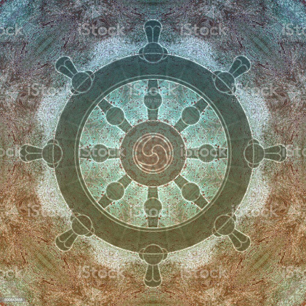 Dharma wheel symbol on a stone background vector art illustration