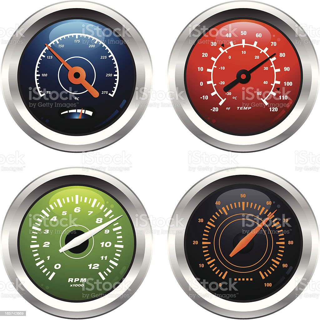 Dials and Gauges royalty-free stock vector art