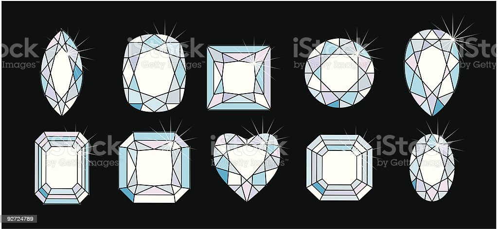 Diamond Cuts and shape royalty-free stock vector art