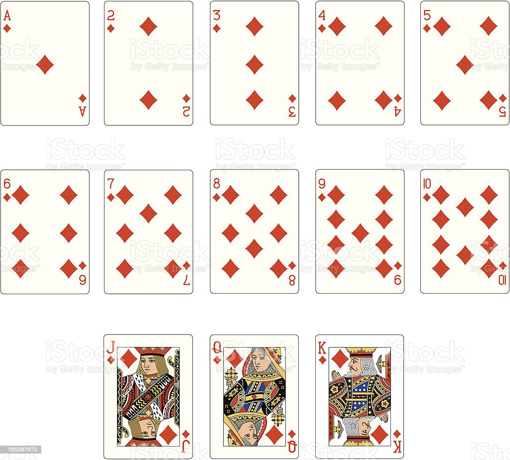 Diamond Suit Two Playing Cards vector art illustration