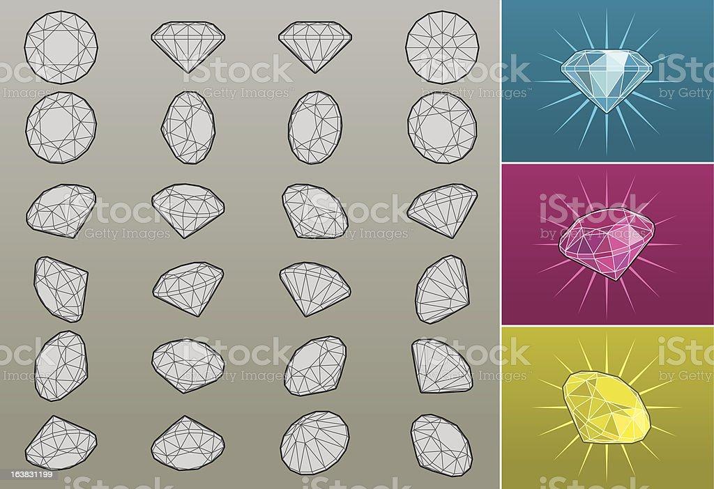 3D diamonds royalty-free stock vector art