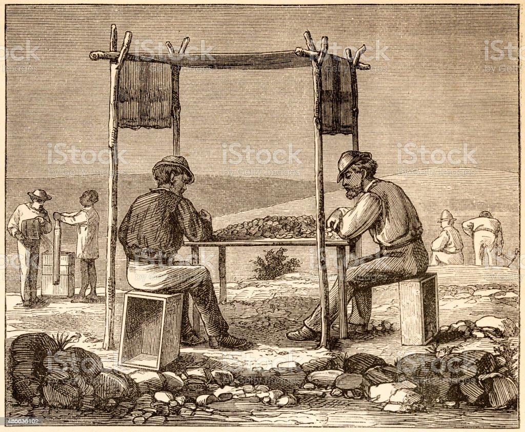 Diamonds mining, 19 century technical illustration vector art illustration