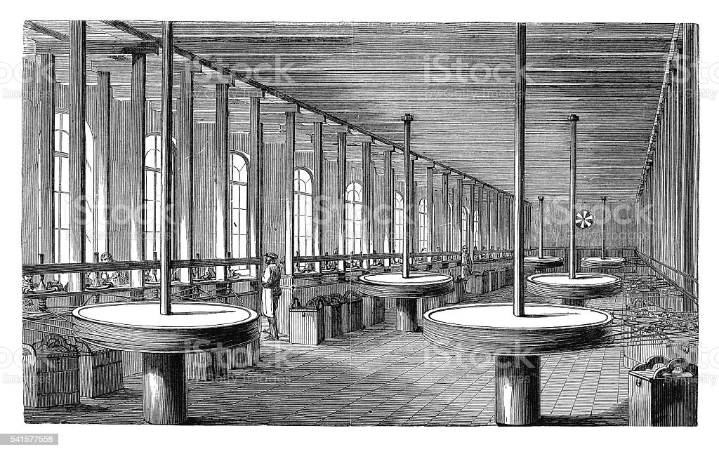 Diamonds polishing workshop (antique engraving) stock photo