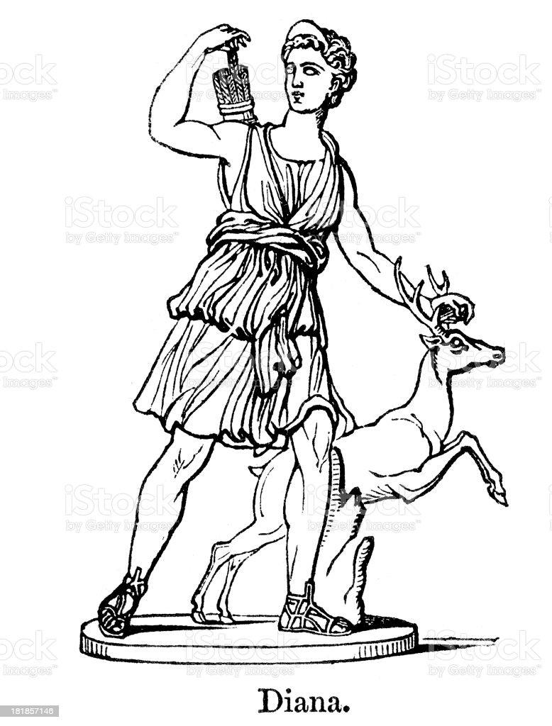 Diana Goddess of the hunt royalty-free stock vector art