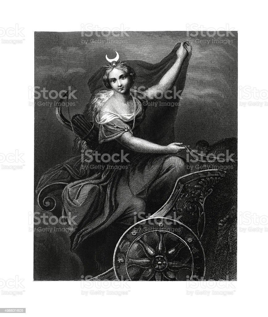 Diana (antique engraving after Correggio's fresco) royalty-free stock vector art