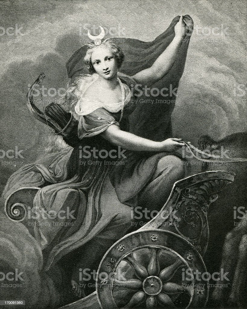 Diana In A Chariot vector art illustration
