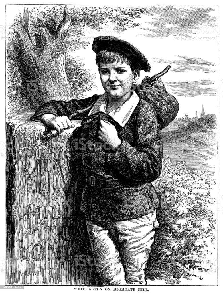 Dick Whittington on Highgate Hill - Victorian illustration royalty-free stock vector art