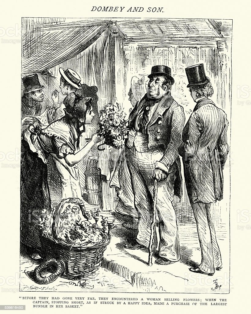 Dickens's Dombey and Son - a woman selling flowers vector art illustration