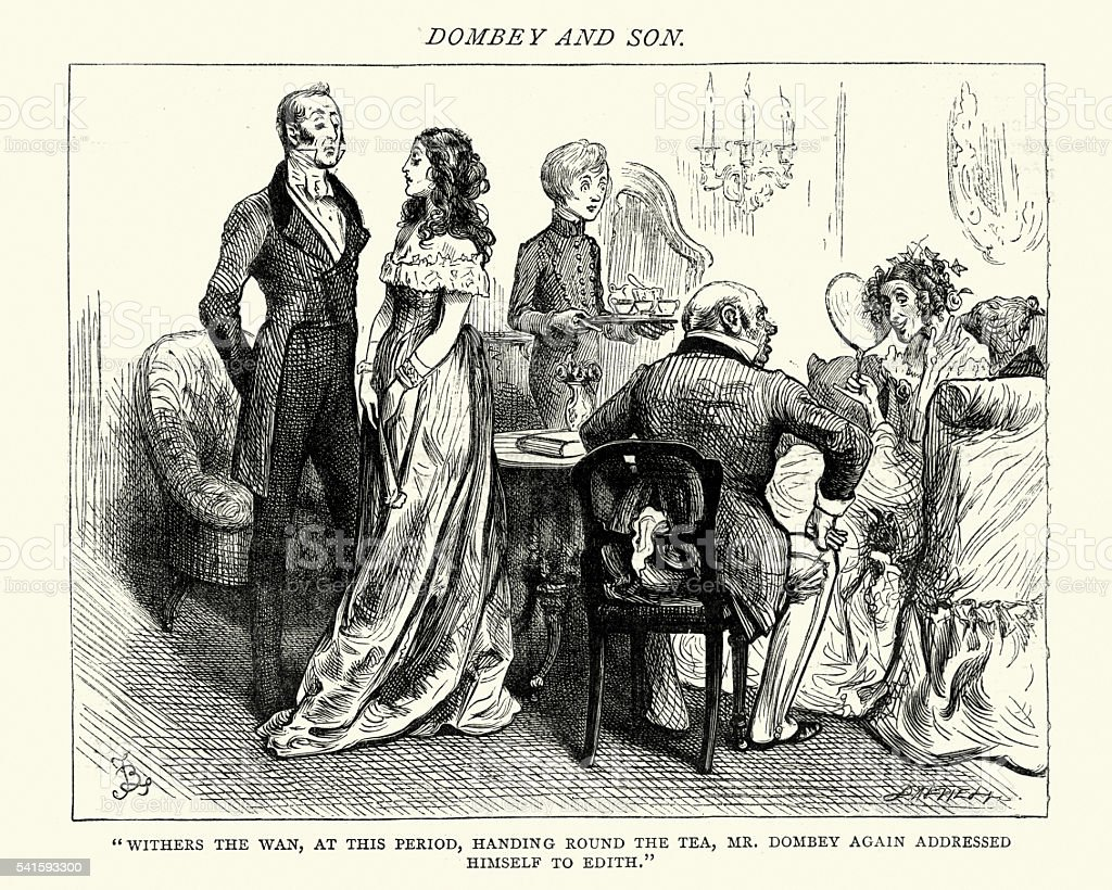Dickens's Dombey and Son handing round the tea vector art illustration