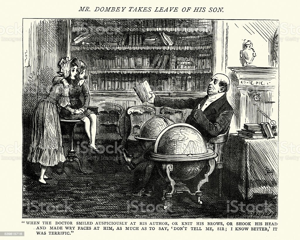 Dickens's Dombey and Son - smiled auspiciously at his author vector art illustration