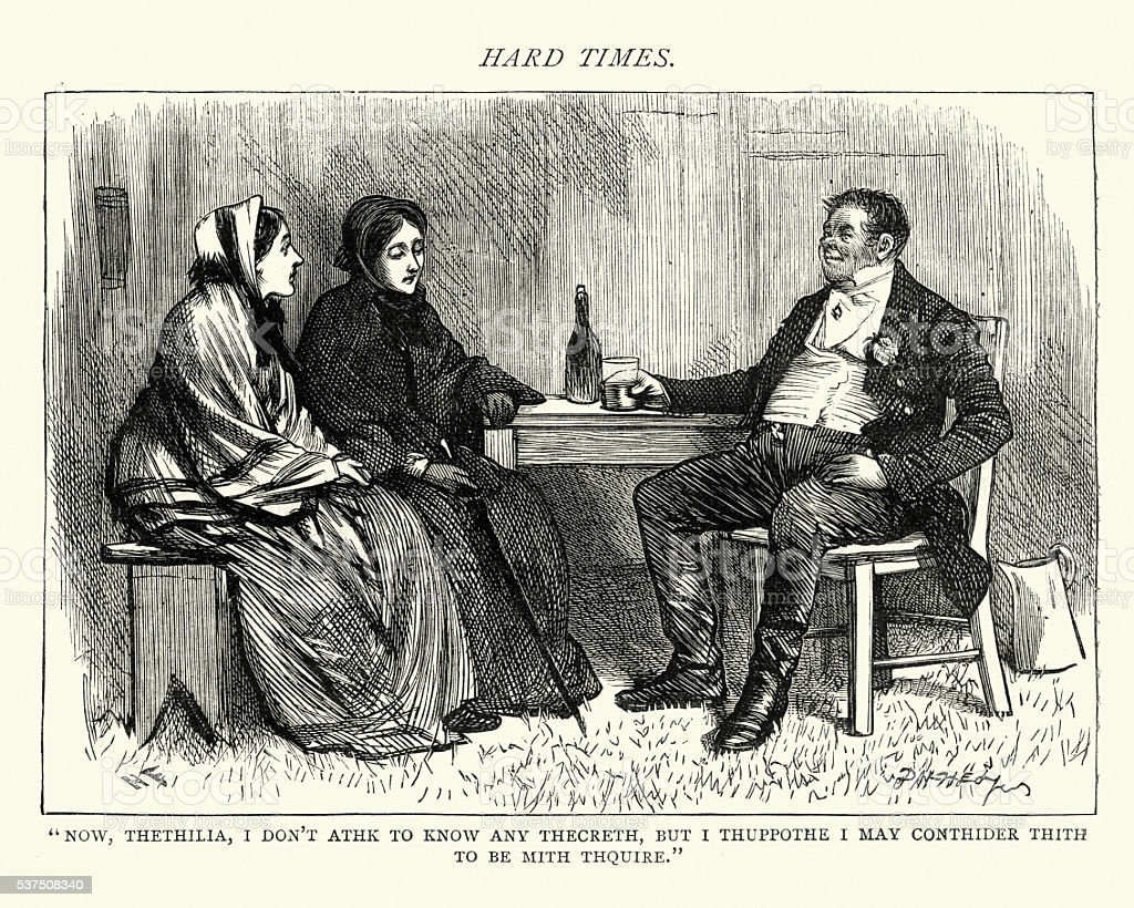 Dickens's Hard Times - Now, Thethilia vector art illustration