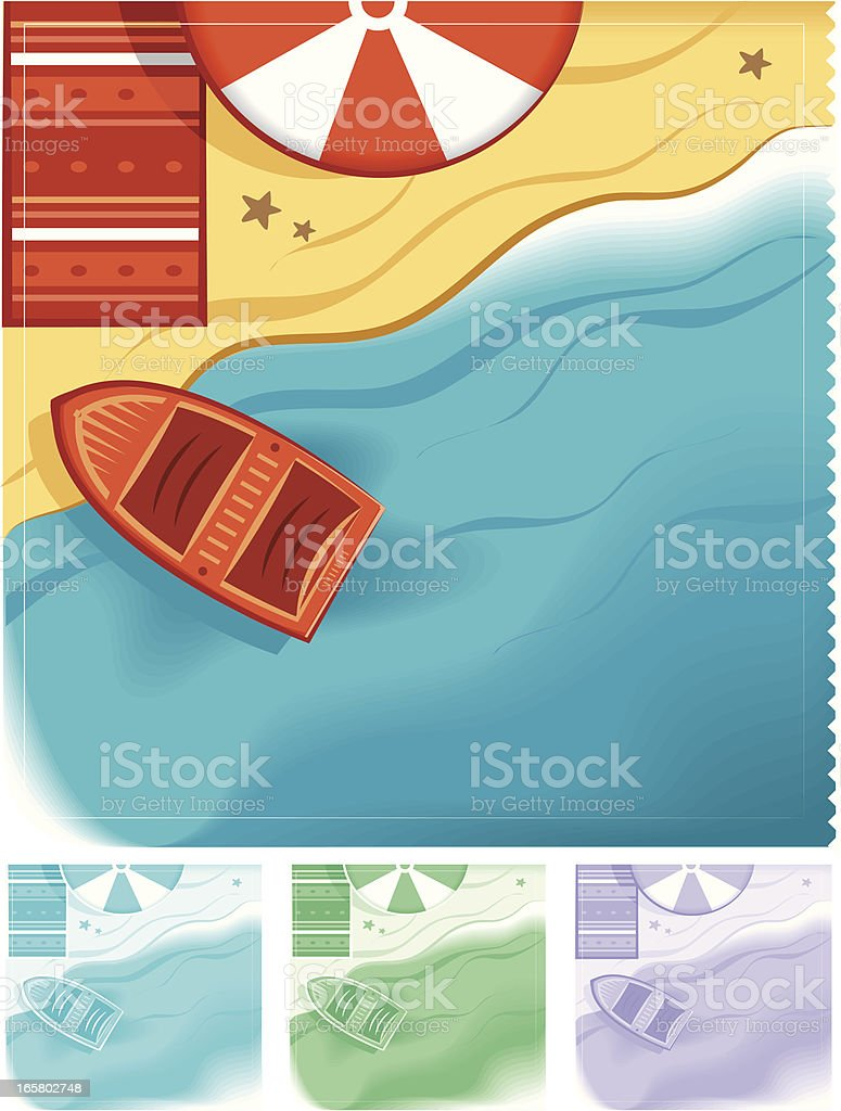 different color variations of the beach vector art illustration