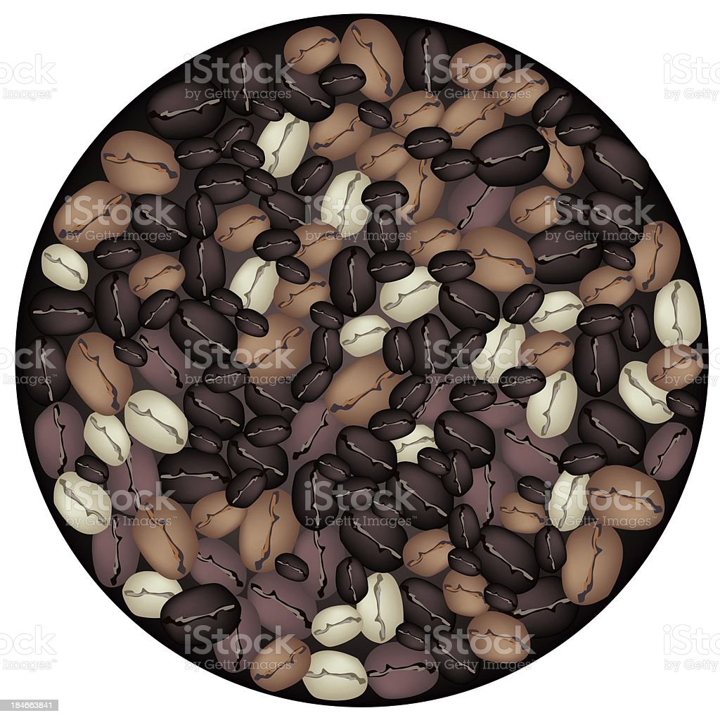 Different Colors of Coffee Beans Forming in Circle Shape vector art illustration