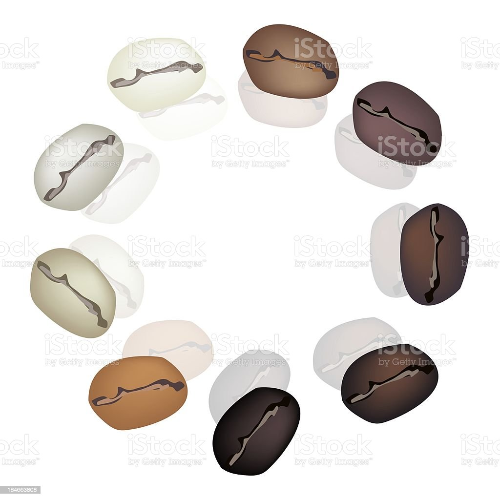 Different Colors of Coffee Beans in Circle Shape vector art illustration