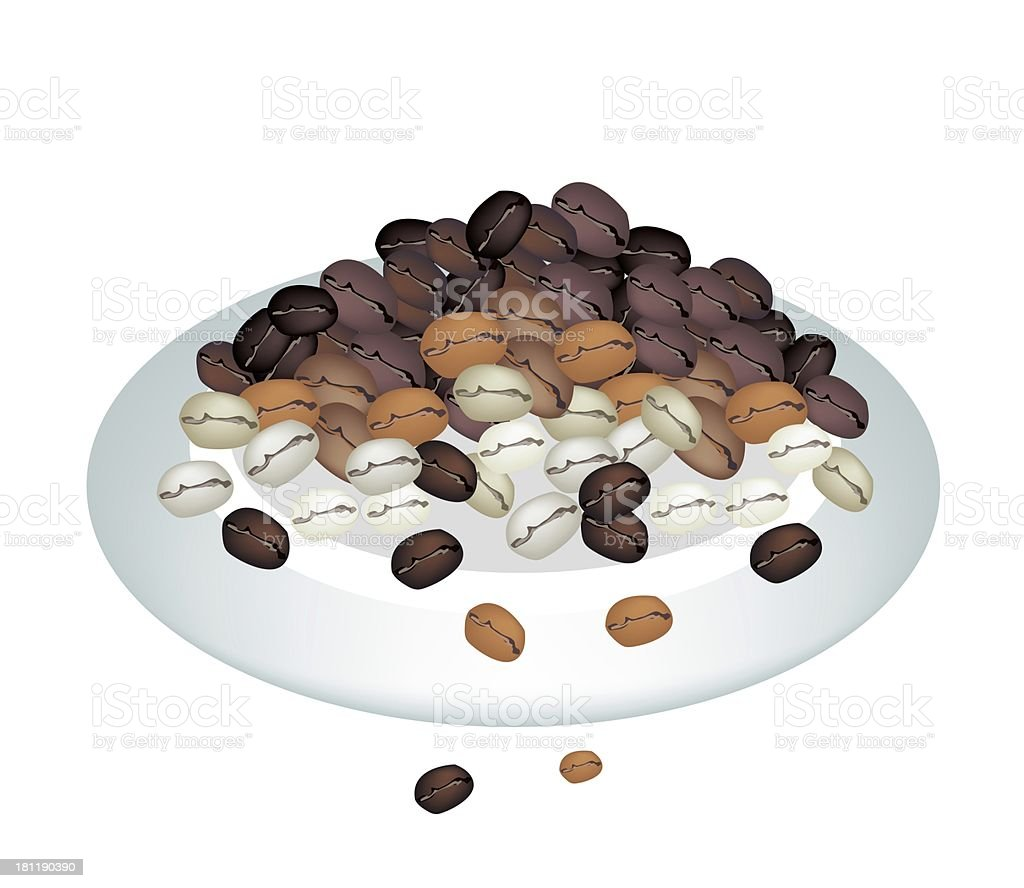 Different Colors of Coffee Beans Stack on white Plate vector art illustration