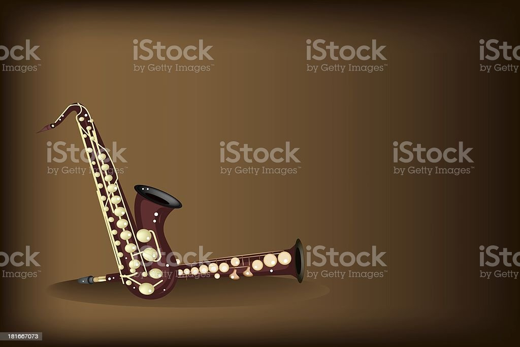 Different Kind of Saxophone on Dark Brown Background royalty-free stock vector art