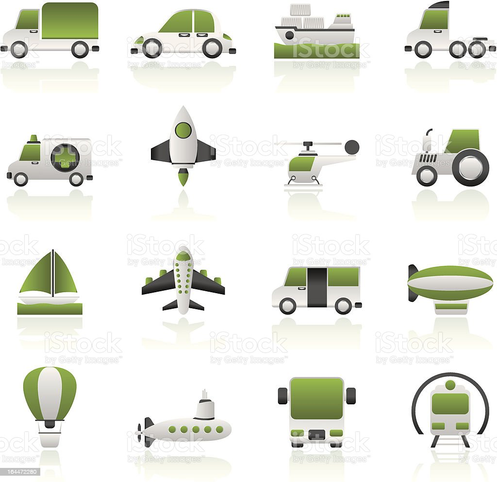 Different kind of transportation icons royalty-free stock vector art