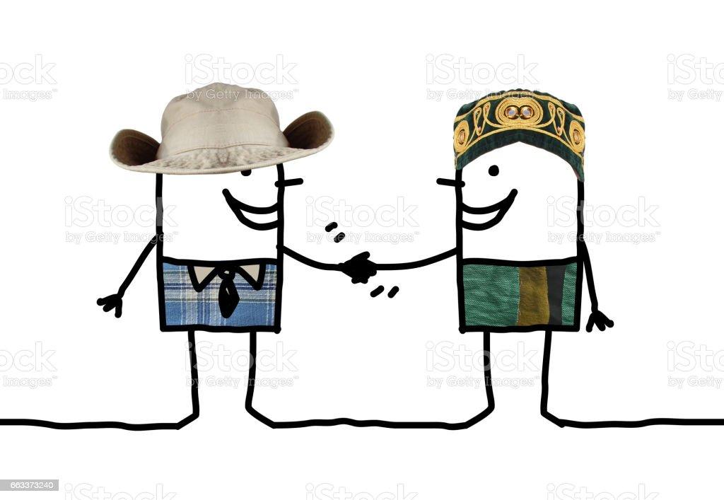 Different men handshake vector art illustration