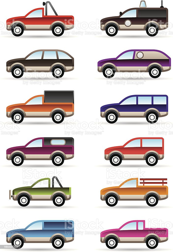 Different off road and SUV cars royalty-free stock vector art