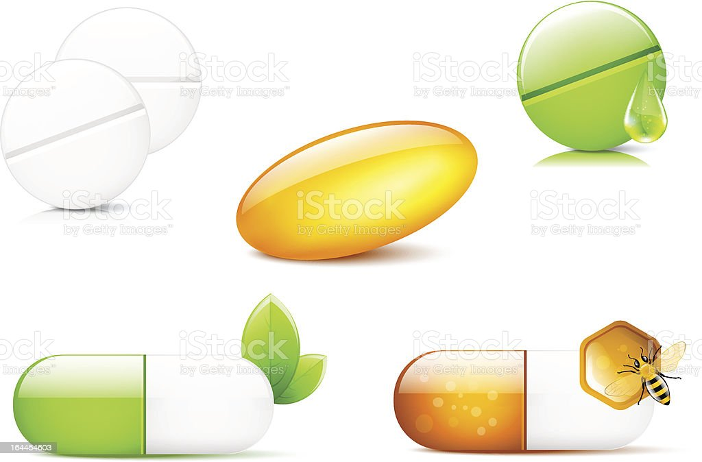 Different pills and capsules vector art illustration