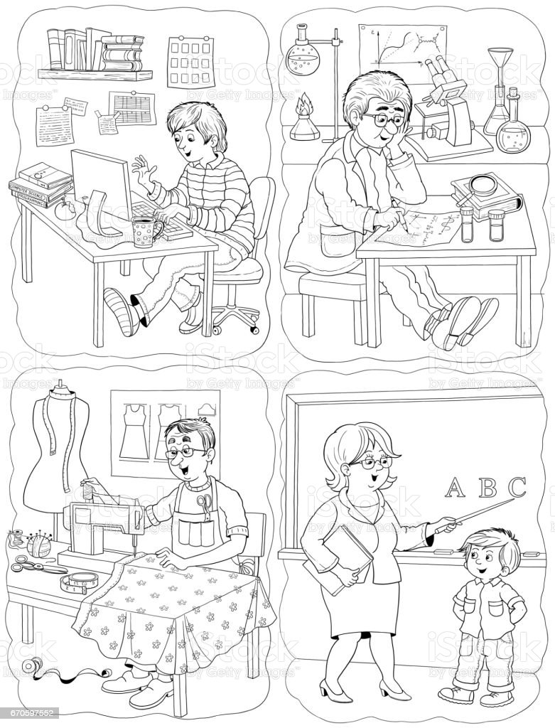 different professions illustration for children coloring page
