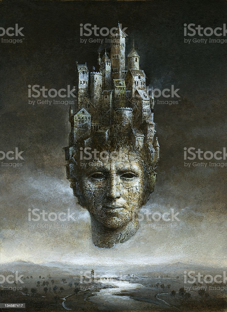 Different sized buildings growing out of the top of a head vector art illustration