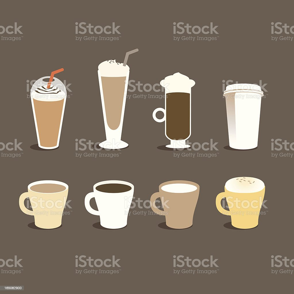 Different types of coffee vector art illustration