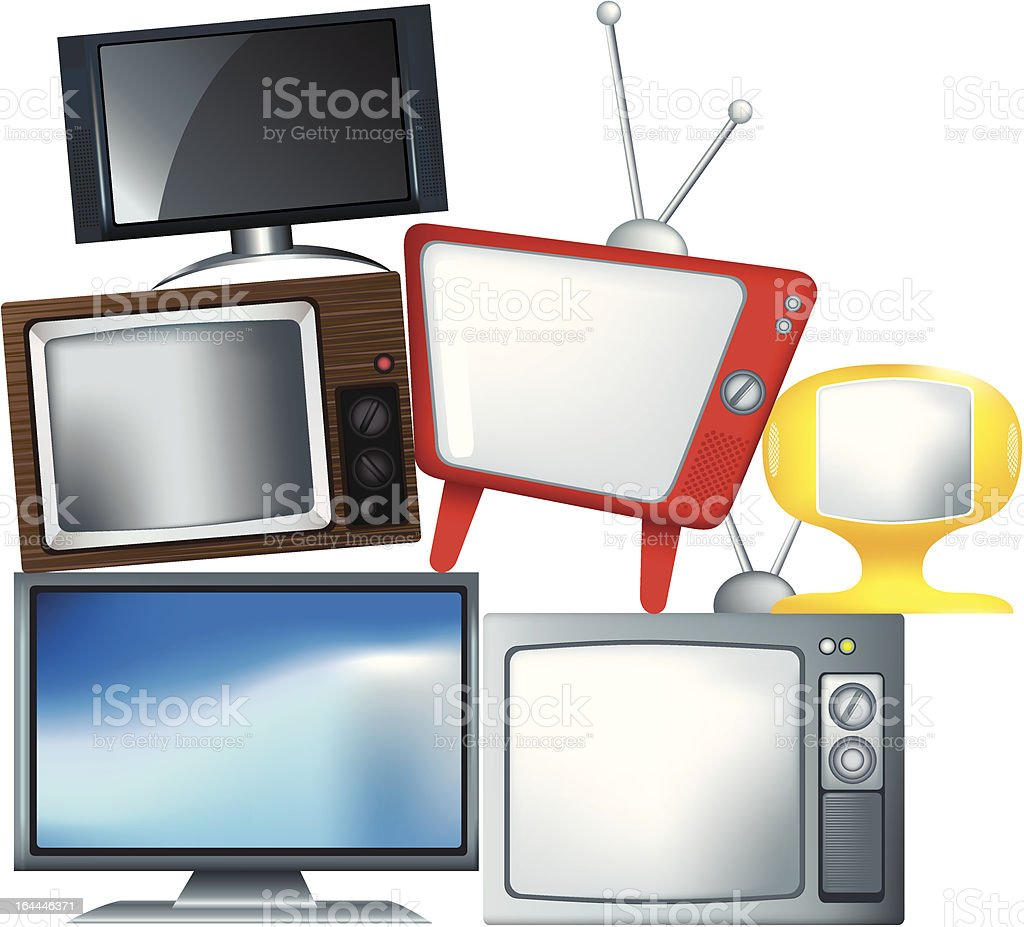 different types of television set in a pile royalty-free stock vector art