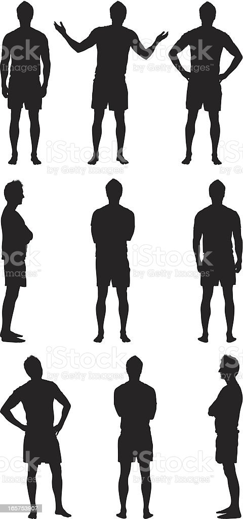Different views of casual men vector art illustration