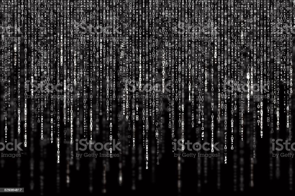 Digital Abstract background, black and white matrix vector art illustration
