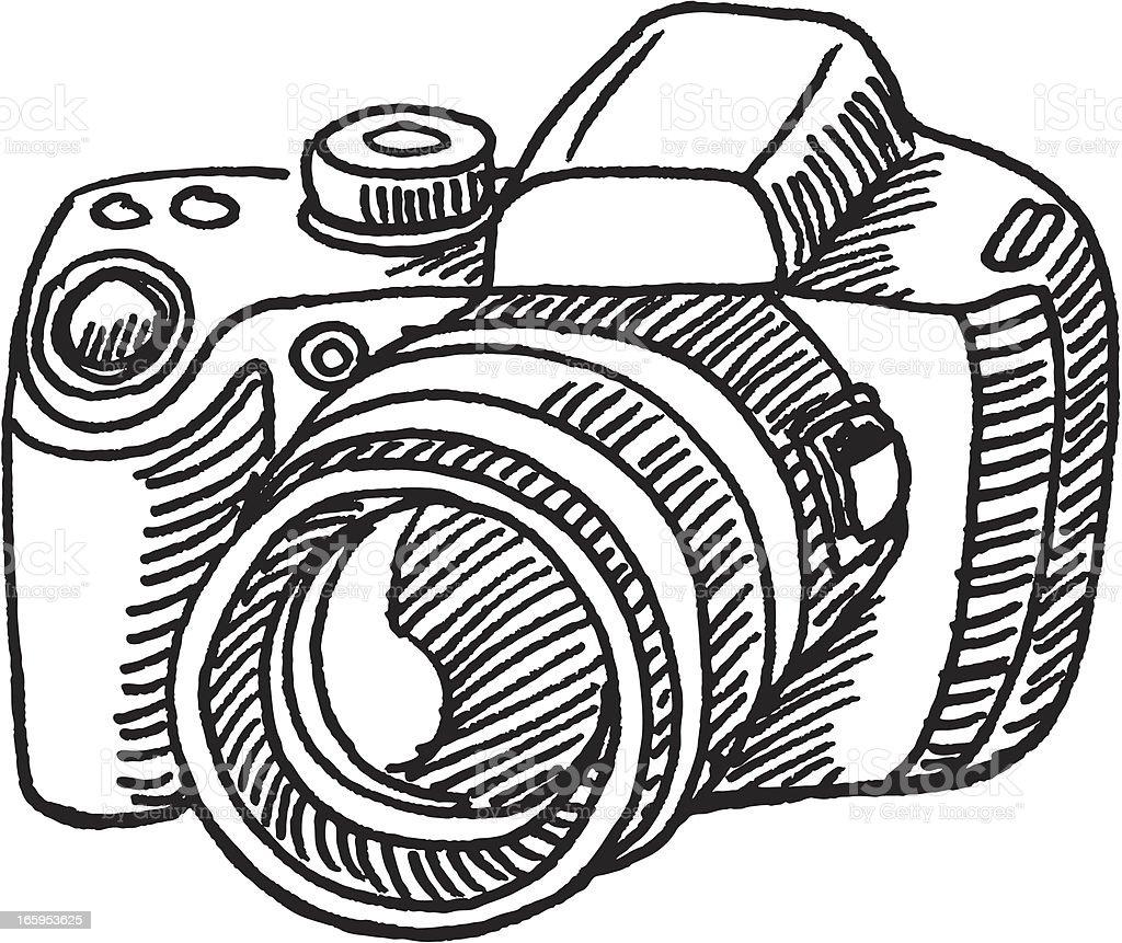 Digital Camera Sketch vector art illustration